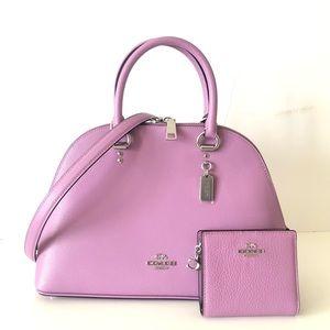 Coach Katy Satchel Violet Purple Purse Wallet Set